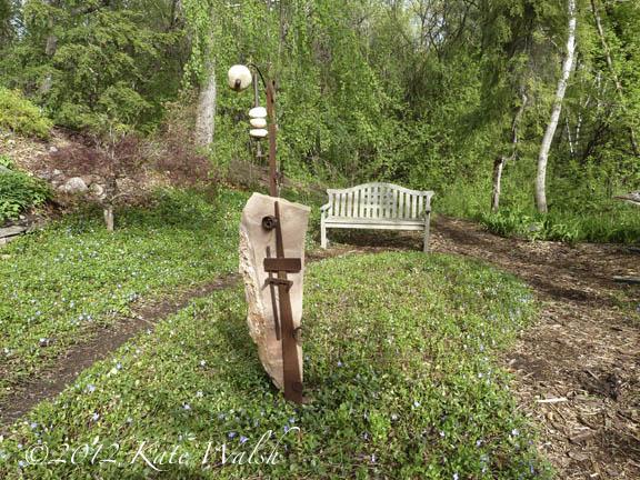 Garden Art and Bench