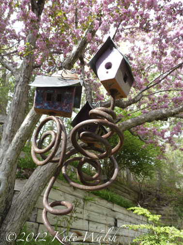 Artistic Bird Houses Find a Home by the Cherry Tree
