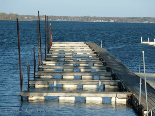 The docks at White Bear Lake at sunset.